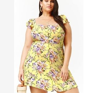 Forever 21 Plus  NWT Yellow Floral Dress size 2x
